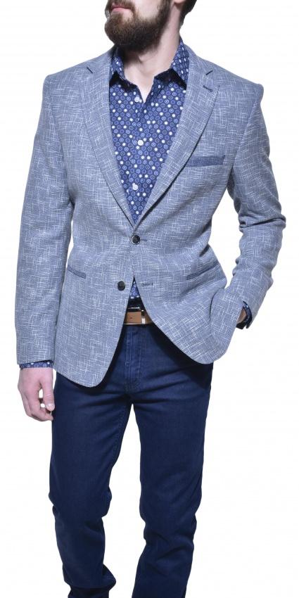 Modré štrukturované sako