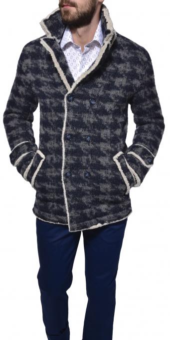 Šedo - modrá dvojradová bunda