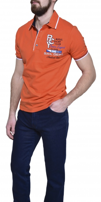 Orange piqué polo shirt