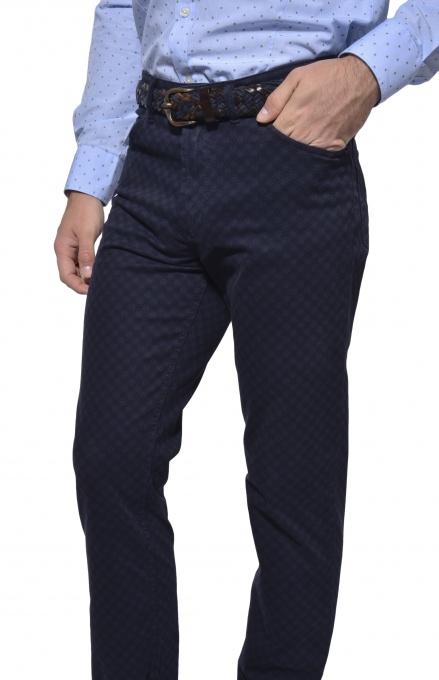 Dark blue five-pocket trousers