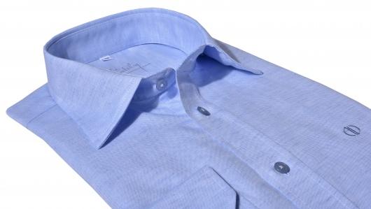 Bledomodrá Slim Fit ľanová košeľa