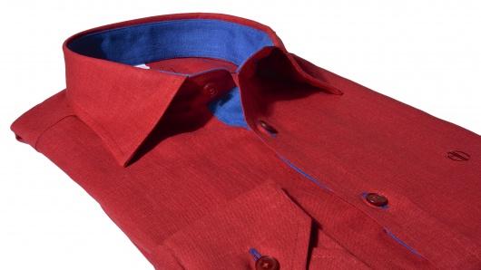 Červená Extra Slim Fit ľanová košeľa