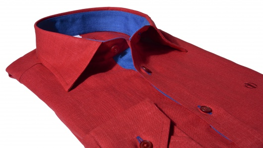 Red Extra Slim Fit linen shirt