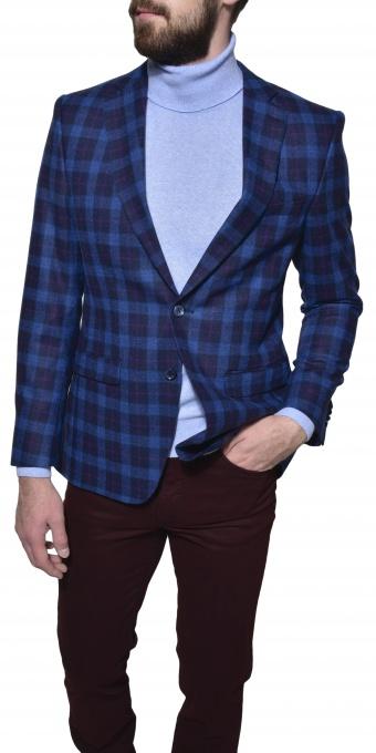 Modré vlnené kárované sako