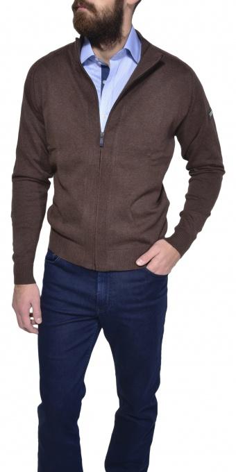 Hnedý bavlnený sveter