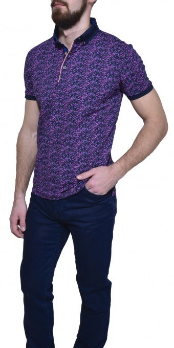 Purple patterned polo shirt
