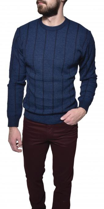 Modrý pletený pulóver