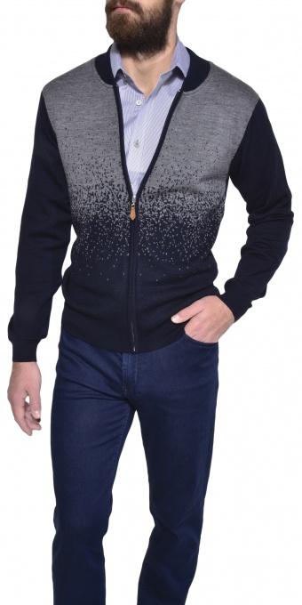 Šedo - modrý bavlnený pulóver