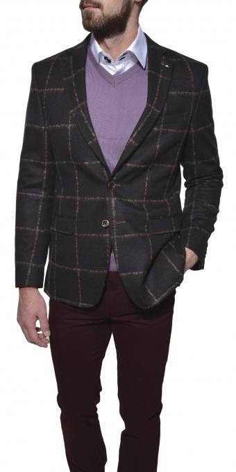 Hnedé kárované vlnené sako