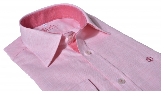 Pink Extra Slim Fit linen shirt