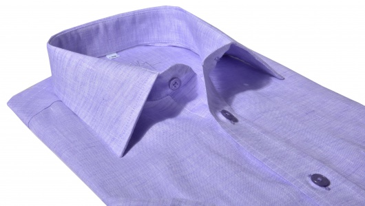 Fialová ľanová Slim Fit košeľa s krátkym rukávom