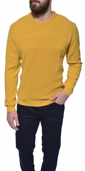 Mustard yellow casual crewneck