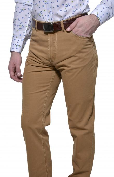 Brown cotton five-pocket trousers