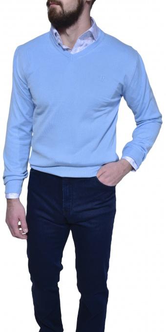 Bledomodrý bavlnený pulóver