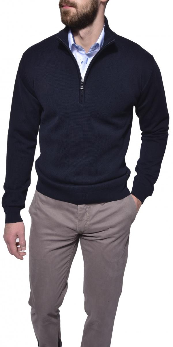 Tmavomodrý pulóver na zips
