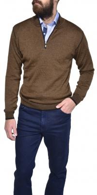 Hnedý bavlnený pulóver