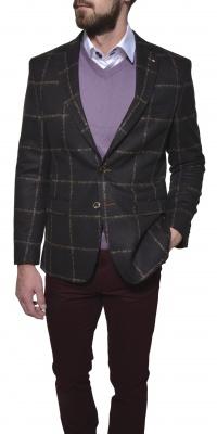 Grey checkered wool blazer