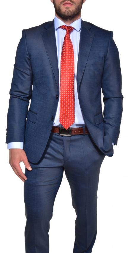 blue slim fit business suit suits e shop. Black Bedroom Furniture Sets. Home Design Ideas