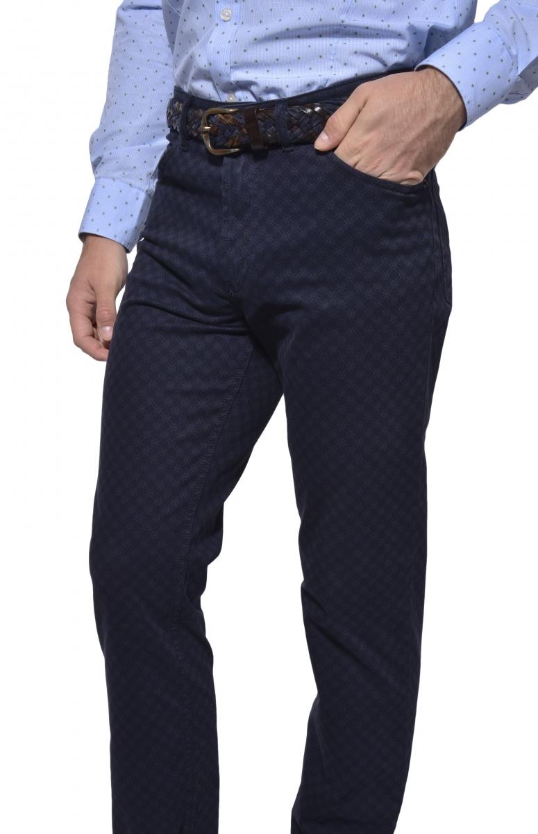 Tmavomodré päťvreckové nohavice