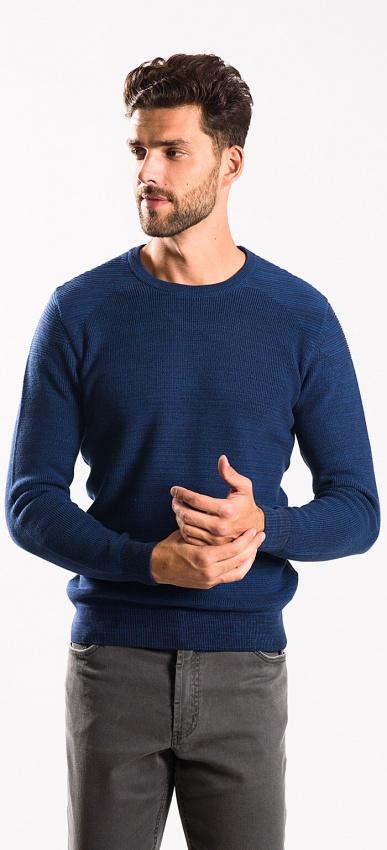 Modrý bavlnený pulóver