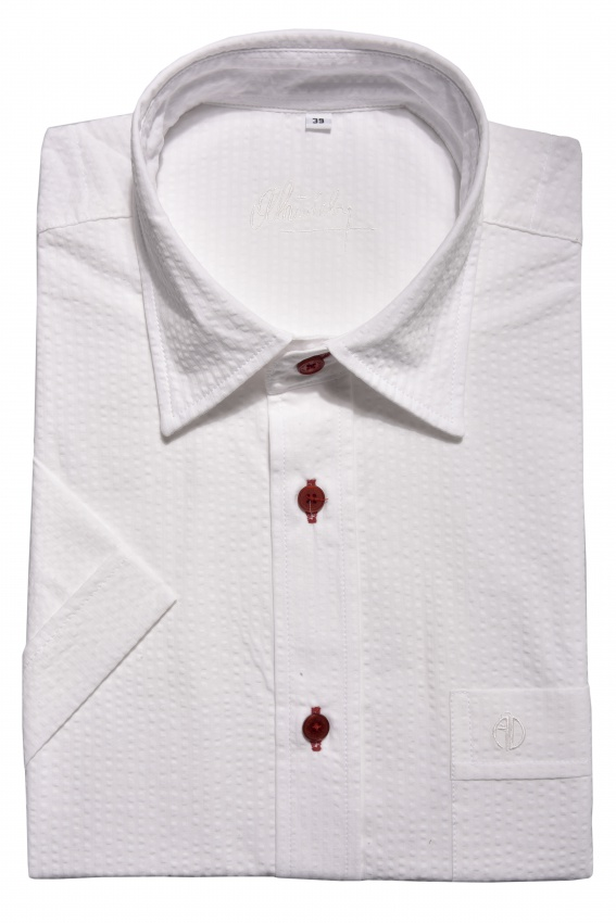 White crepe Slim Fit short sleeved shirt