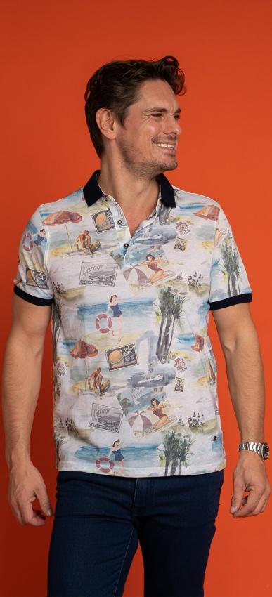 Cotton printed polo shirt