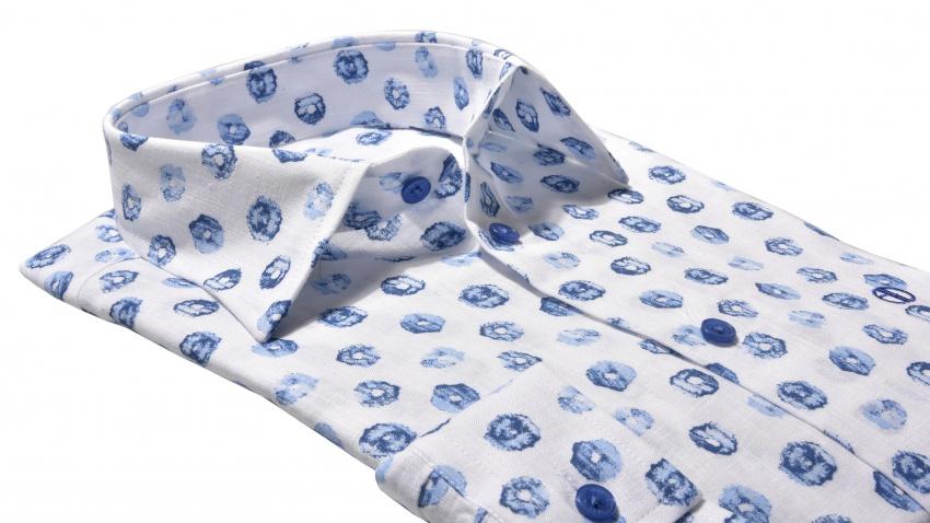 Modrá Slim Fit ľanová košeľa