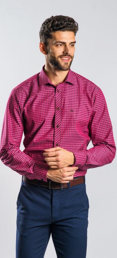 Fialová károvaná Extra Slim Fit košeľa
