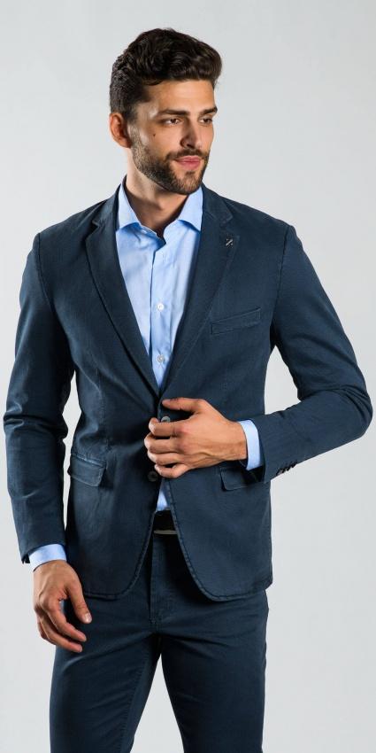 Šedo-modré bavlnené sako