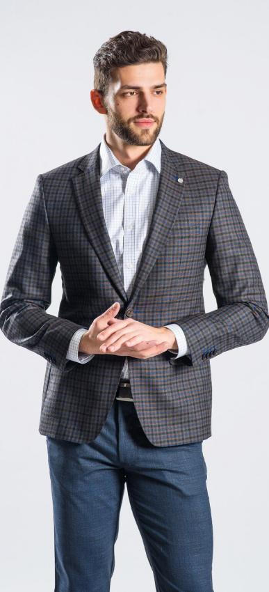 Hnedo - modré kárované sako