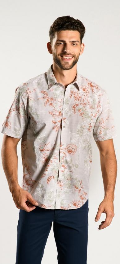 Flower patterned Extra Slim Fit short-sleeved shirt