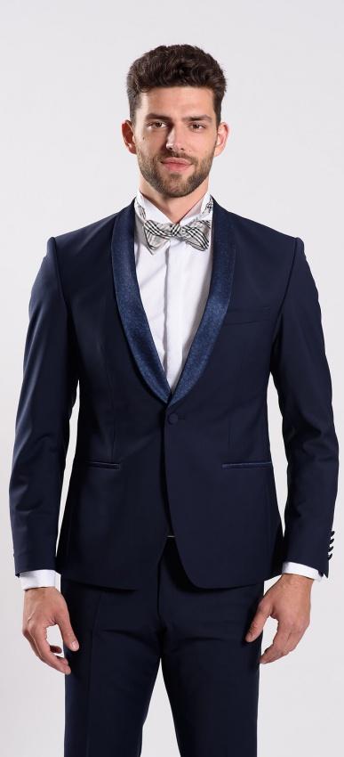 Modré svadobné oblekové sako