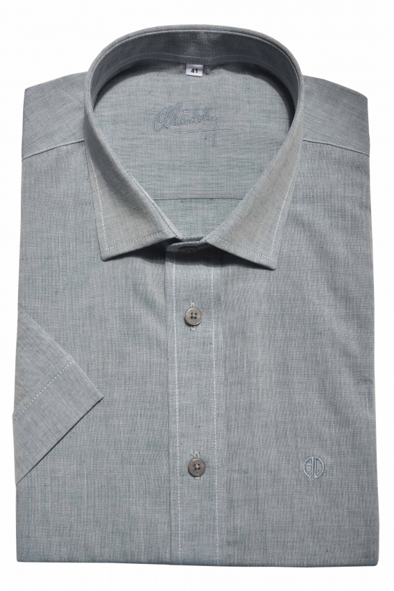 Grey linen Slim Fit short sleeved shirt