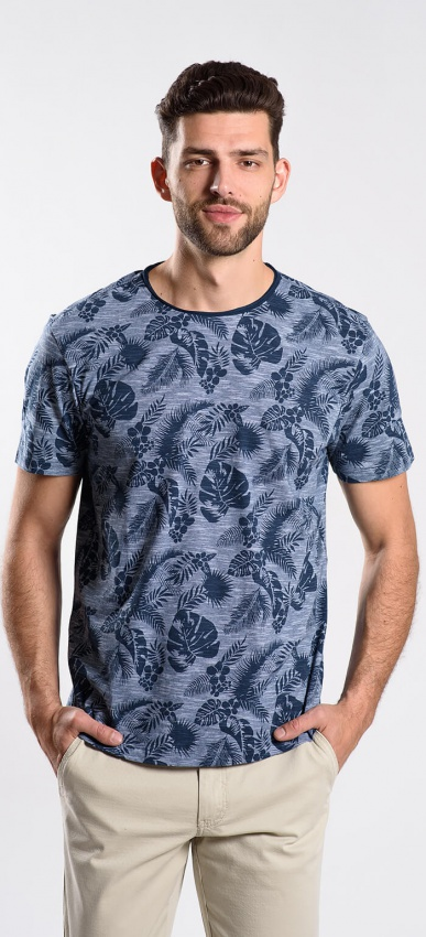 Modré vzorované tričko