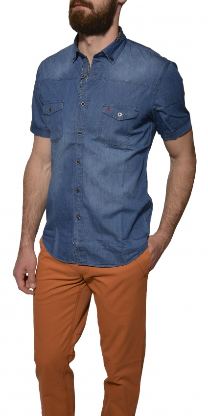 Modrá denimová košeľa s krátkym rukávom