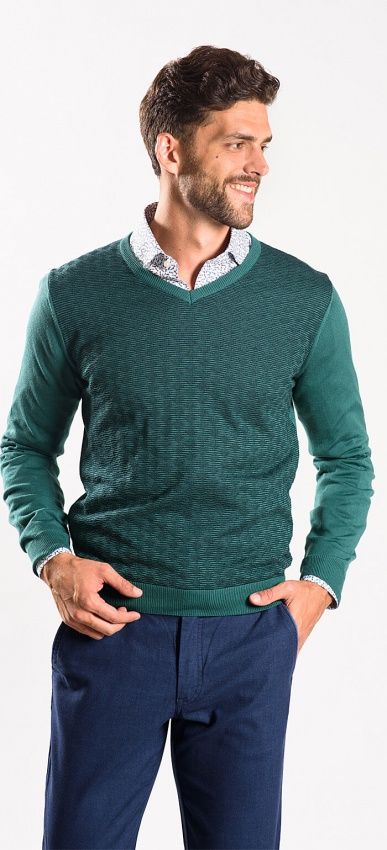 Green cotton v-neck
