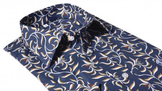 Modrá výrazná Slim Fit košeľa s krátkym rukávom