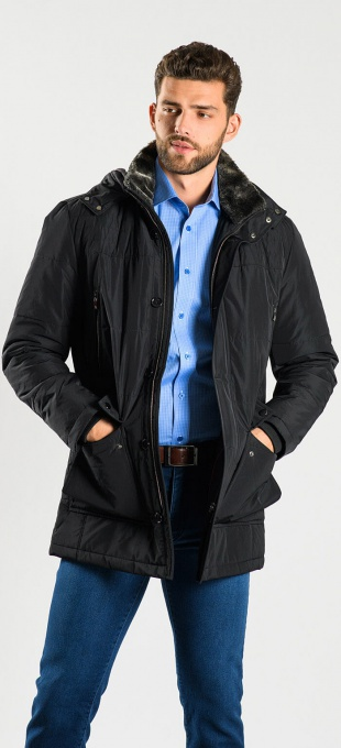 Dark blue winter parka