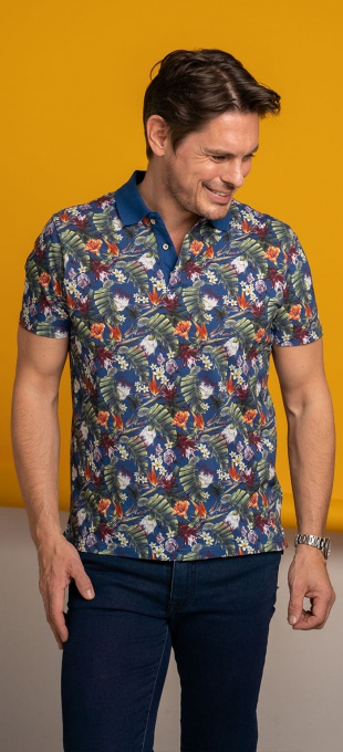 Cotton flower patterned polo