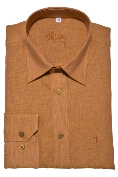 Ochre Slim Fit linen shirt
