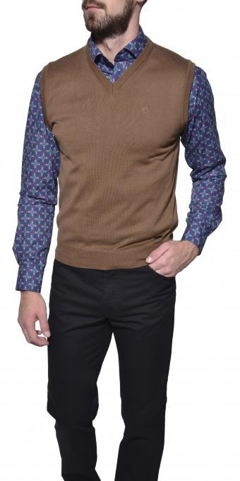 Brown cotton vest