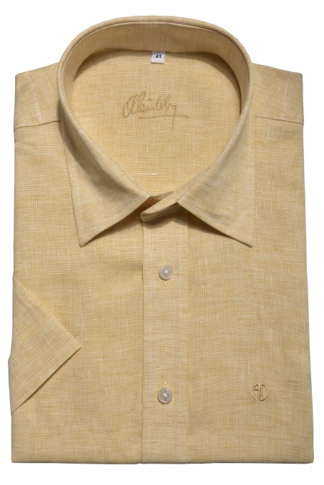 Yellow linen Slim Fit short sleeved shirt