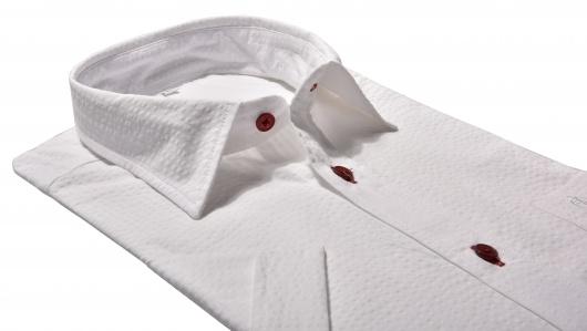 White crepe Slim Fit short sleeved shirt