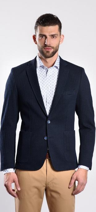 Tmavomodré strečové sako