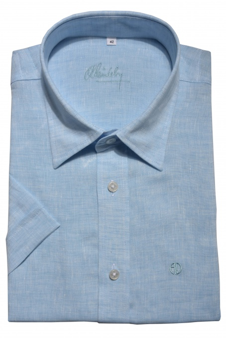 Blue linen Slim Fit short sleeved shirt