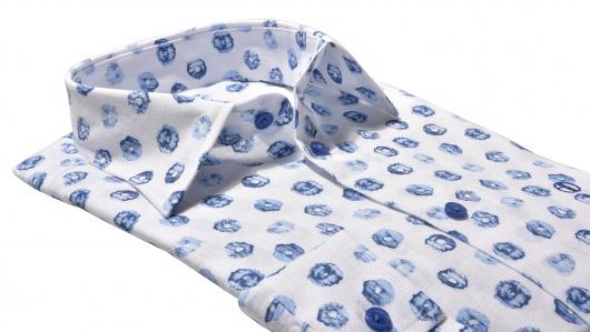 Blue Slim Fit linen shirt