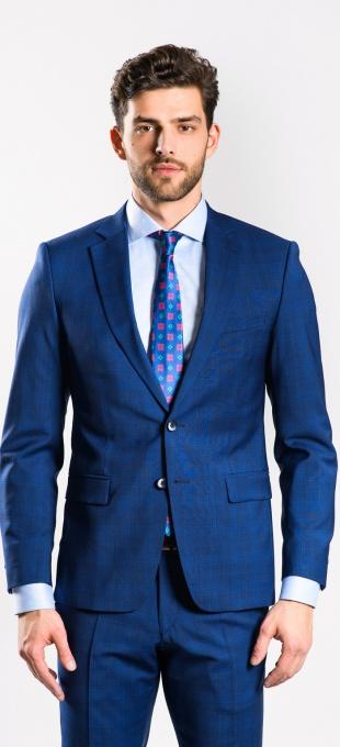 Modrý vlnený károvaný oblek