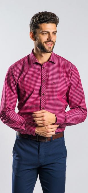 Purple checkered Extra Slim Fit shirt