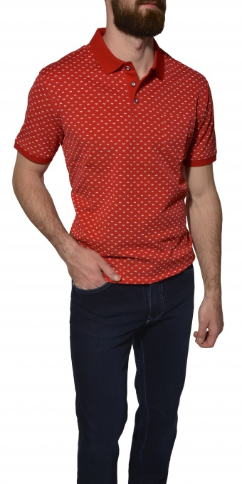 Red patterned piqué polo shirt