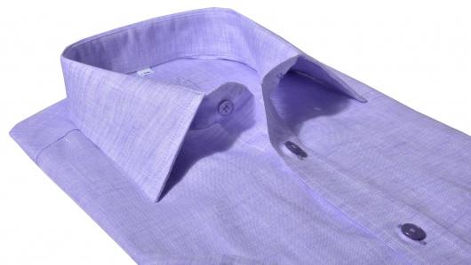 Purple linen Slim Fit short sleeved shirt